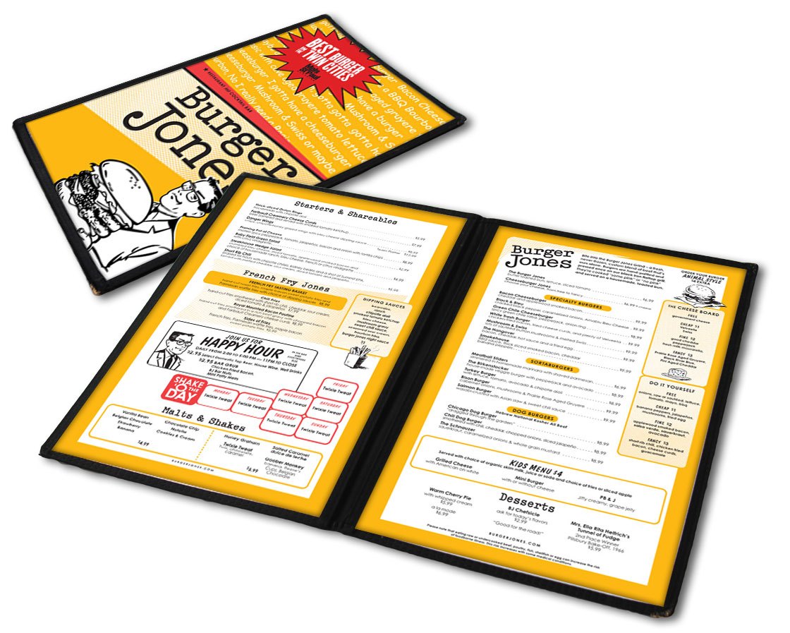 Burger Jones Menu