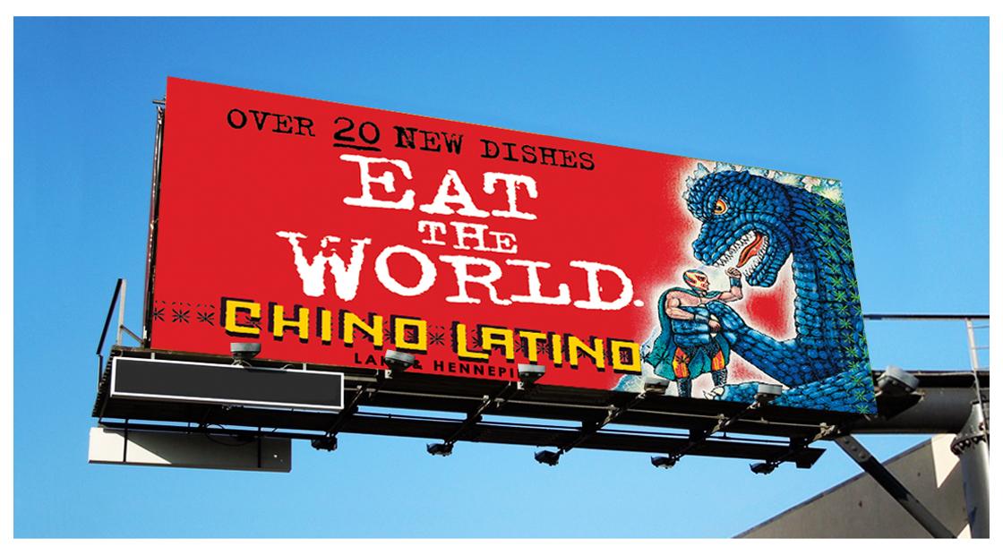 Chino Latino Billboard With Godzilla Eating The World