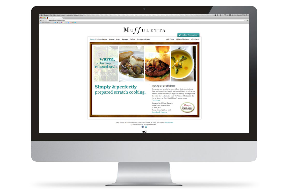 Muffuletta Desktop Website