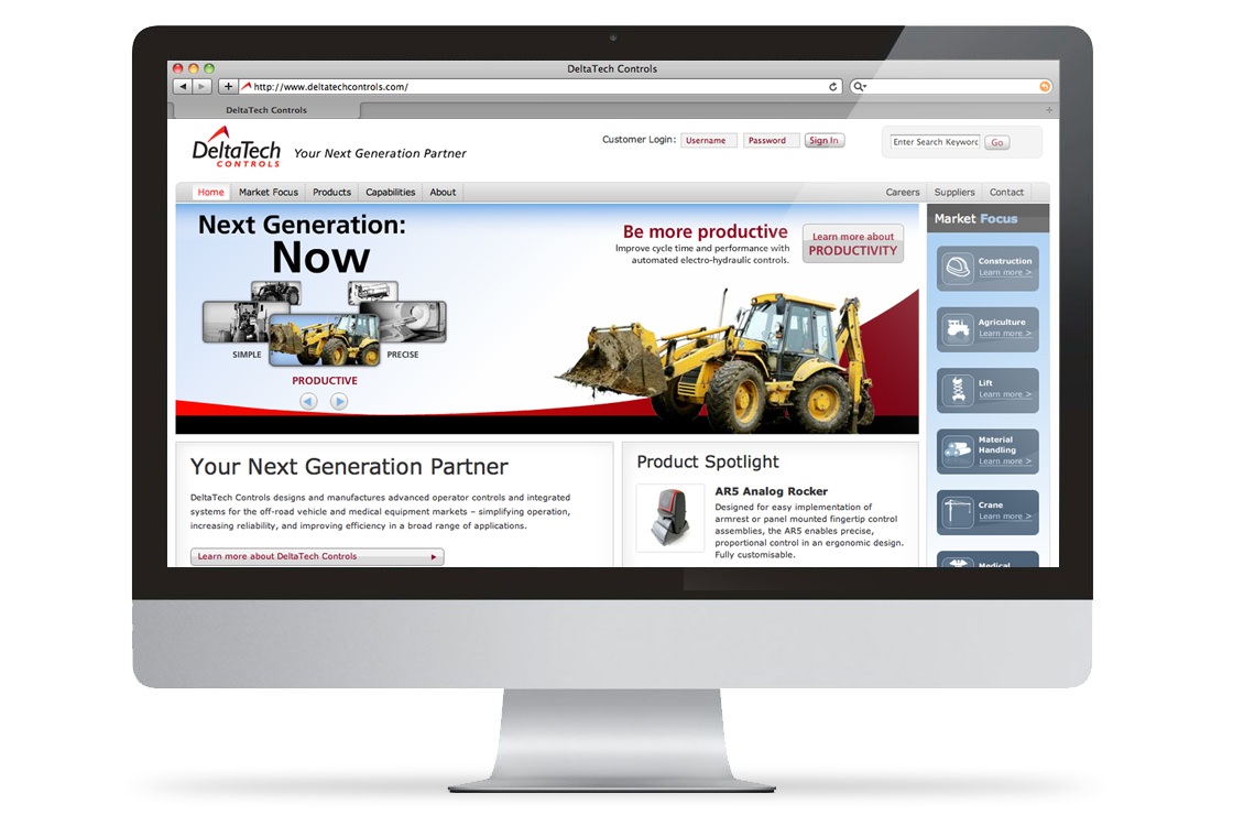 DeltaTech Website on an Apple Desktop