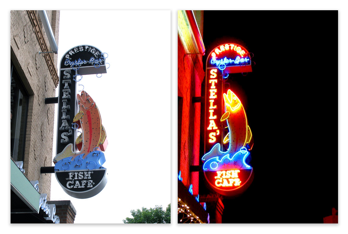 Stellas Blade Sign During the Day and Night