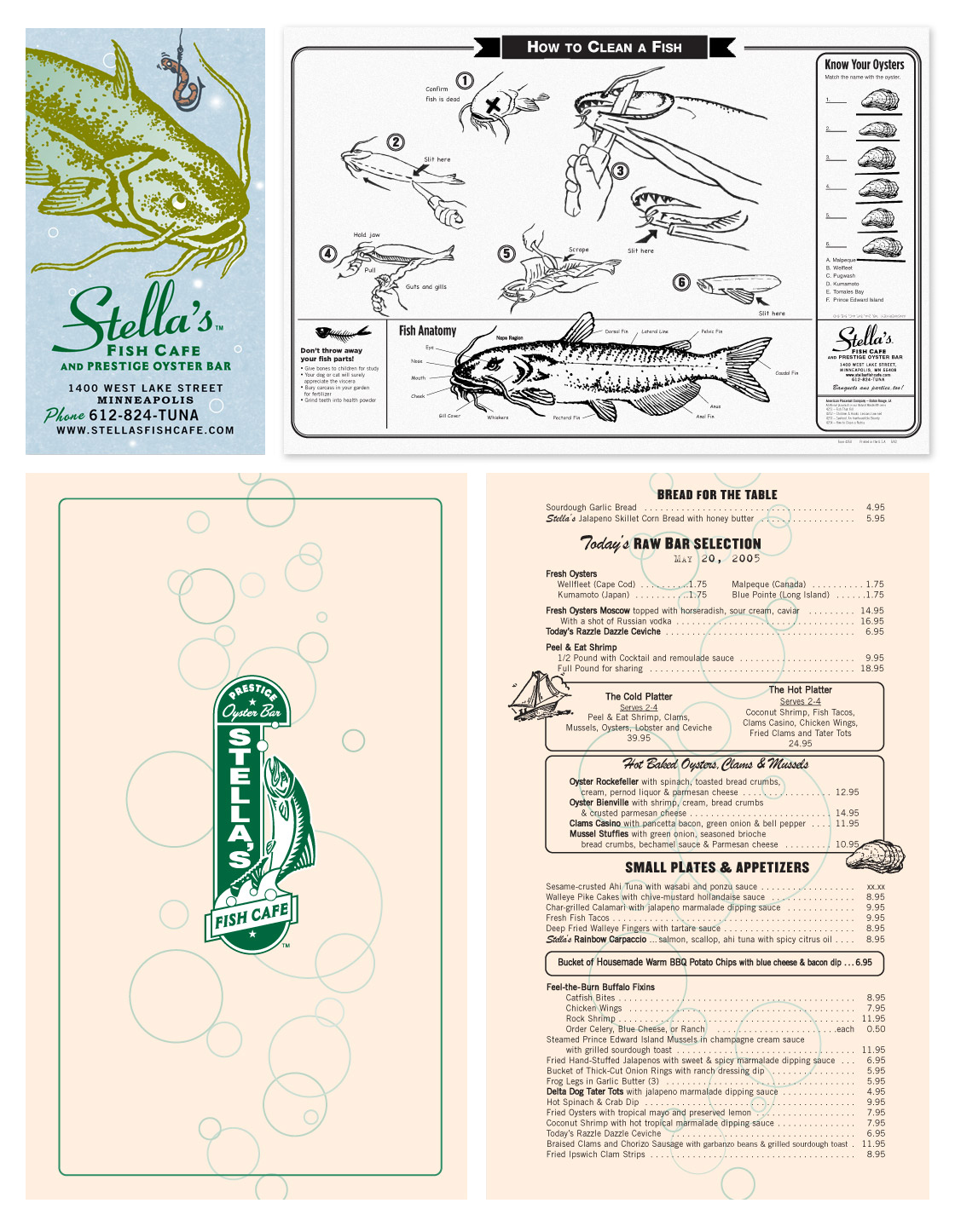 Stella's Menu, Magnet, and Placemat