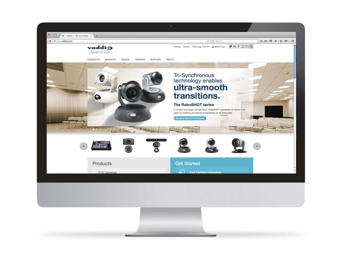 Vaddio Website on Apple Desktop