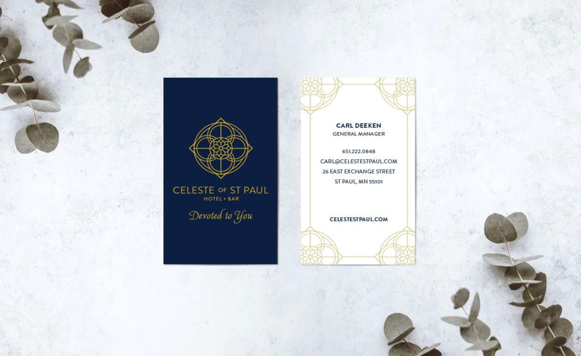 celeste hotel business card