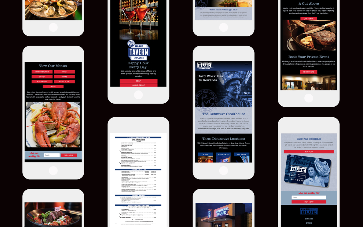 Pittsburgh Blue Website Mobile View