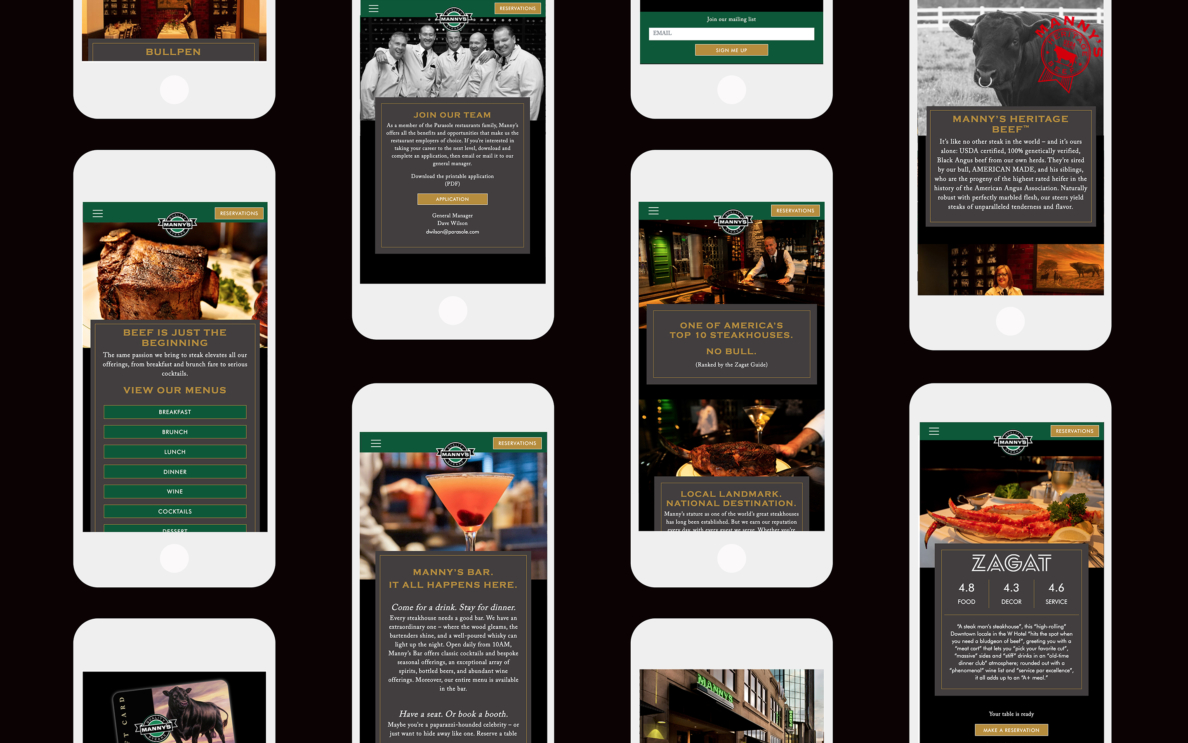 Manny's Steakhouse Mobile Screens