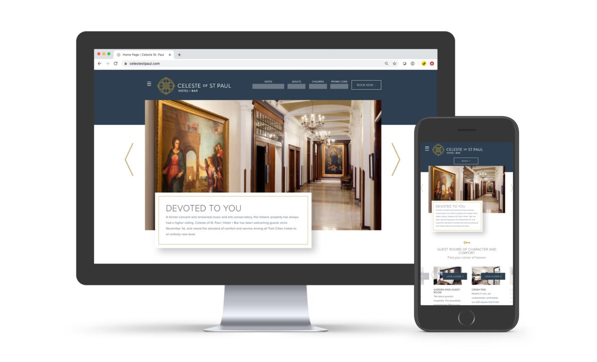 celeste hotel website on desktop and mobile