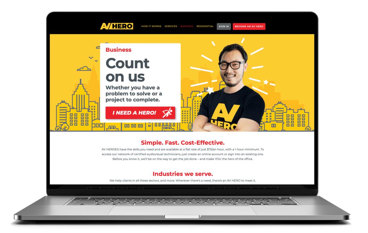 """AV HERO website """"Business"""" page"""