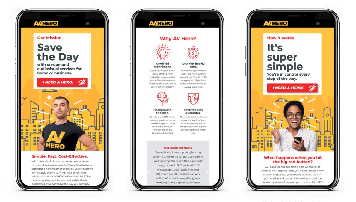 AV HERO Website Mobile View